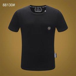 2019 imprimer Philip couleur unie T-shirt mode loisirs fitness cool O collier hommes portent T-shirt été vêtements pour hommes M-3XL # 2014 en Solde