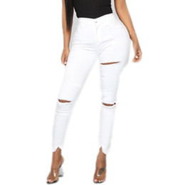white cotton stretch pants Canada - 2019 Fashion Sexy Women Skinny Stretch Jeans White Hole Mid Waist Pencil Pants Casual Street Simple Trousers Vaqueros #Y30