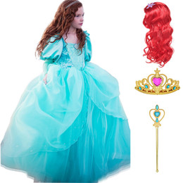 $enCountryForm.capitalKeyWord Australia - The Little Mermaid Movie Princess Ariel Cosplay Dresses for Girls Comic Con Kids Role Play Costume Children Christmas Long