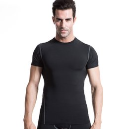 Wear Compression Shorts Australia - 2019 new Men's Pro Compression Top Under Base Layer Short Sleeve T-shirts Slim Wear Bodybuilding Fitness Jerseys
