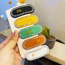 Wholesale Classic Letter Women Hair Clips Luxury Diamond Shinning Lady Barrettes 5 Colors Street Style Girls Hairpin Jewelry
