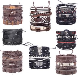 Handmade beads leatHer bracelet online shopping - 8pcs set Handmade Boho Gypsy Hippie Fashion Trendy Vintage Cuff Beads Leather Punk Charm Men Leather Bracelet For Women Jewelry