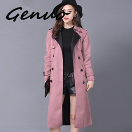 Wholesale elegant long coats for women resale online - Plus Size XL Suede Trench Coat For Women New Spring Double Breasted Trench Coat Long Overcoat Windbreaker Elegant Outwear C4057