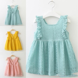 $enCountryForm.capitalKeyWord Australia - Baby Girls Summer Spring Dress Lace Princess Dress Lotus Leaf Edge Button Dress Kids Boutiques Clothing