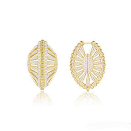 $enCountryForm.capitalKeyWord UK - 2019 new Europe and America New Fashion Yellow Gold Plated Full CZ Shell Hoops Earrings for Girls Women Nice Gift for Friend