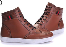 Brand High Board Shoes UK - Brand Men Cow leather high tops lacing Trainers Sports Board skateboarding Shoes fashion sneakes Casual Ankle Marint boots size:40-47