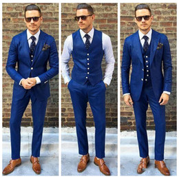 $enCountryForm.capitalKeyWord Australia - Fashion Royal Blue Mens Suit Three Pieces Two Buttons Wedding Tuxedos Slim Fit Custom Made Groom Formal Business Suits(Jacket+Pants+Vest)
