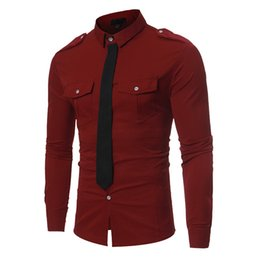 dd31f3ac904 YOUYEDIAN new fashion Fake Tie Tee shirt for men Spring Solid Color Slim  Fit Long Sleeve Top Blouse crop top shirts red 2019