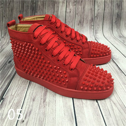 Name Brand Red Dresses Australia - Hot Sell Name Brand Red Sole Black Sneaker Shoe Man Casual Woman Fashion Rivets High Top Mens Dress Party Cheap Sneaker Designer Shoes 3A 18