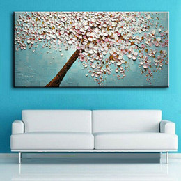 oil paint new NZ - New handmade Modern Canvas on Oil Painting Palette knife Tree 3D Flowers Paintings Home living room Decor Wall Art 168032 T200414