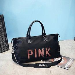 Женская блестки мода портативный дорожная сумка большой емкости обучение камера сумка выходные камера сумка bolso mujer grande (розовый)