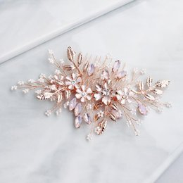 gold color hair combs UK - Women Flower Hair Combs Rose Gold Color Leaf Hair Jewelry Accessories Elegant Pink Crystal Wedding Hair Ornament For Bride