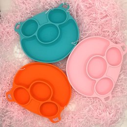 infant feeding bowls Canada - Baby Feeding Bowl Infant Silicone Bisphenol-free High Temperature Resistance Sucker Plate with Spoon Tableware Cushion Kids