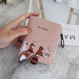Discount cell phone holder wallet women - Fashion Women Cartoon Wallet Lovely Animals Short Leather Female Small Coin Purse Hasp Zipper Kid Purse Card Holder Free