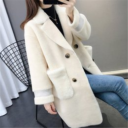 ladies cashmere jackets Australia - 2019 Autumn Winter New Fur One Grain Sheep Shearing Coat Ladies Cashmere Long Lamb Coat Winter Women's Jackets Outerwear XA160 SH190930
