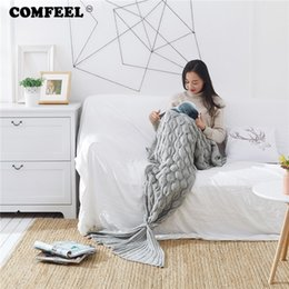 fishing sleeping bags 2019 - COMFEEL Mermaid Tail Weighted Blanket Hand-knitted Fish Scales Crochet Soft Throws Blankets Sofa Kids Multi-color Sleepi