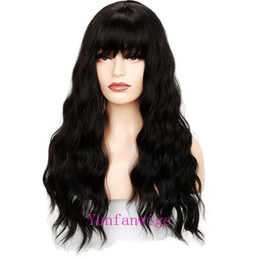 gray wigs for black women 2019 - Long Wavy Black Cosplay Wigs Party Hair Neat bangs Red Gray Dark Light Brown Aoki color chocolate flaxen Wig for Women d