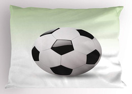 Wholesale Sports Pillow Sham Vector Image of Football Soccer Ball Artwork with Green Ombre Background Image Decorative Standard King Size Pillow Case