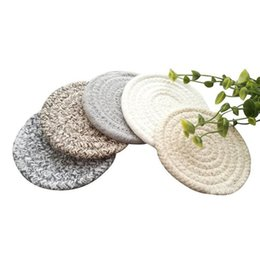 Chinese  Round Cotton Braided Table Place Mats Coaster Non-Slip Table Mats Set of 5 Cups Dining Kitchen Washable Small manufacturers