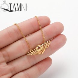Guardian anGel jewelry online shopping - QIAMNI Creative Cool Geometric Wing Shape Pendant Necklace Party Birthday Gift Women Guardian Angel Wings Jewelry Lovers Gift