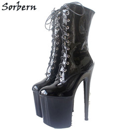 Orange Pole Australia - Sorbern Mid-Calf Boots For Women 20Cm High Heels Thick Platform Heel Boots Lady Gaga Shoes Boots Night Club Pole Dancing Shoes