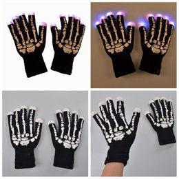 glowing gloves Australia - LED luminous skull gloves Christmas Halloween bar applicable props seven colors randomly change light-emitting Glove glow in the darkFFA3046