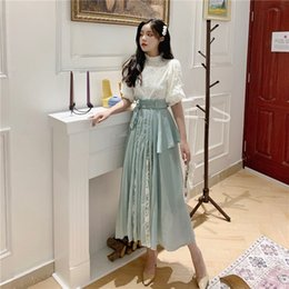 korean office suits Canada - 2020 New Fashion Summer Two Pieces Set Women Puff Sleeve O-neck Lace Blouse And A-line Skirt Elegant Korean OL Office Lady Suit