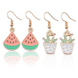 $enCountryForm.capitalKeyWord Australia - Cute Cartoon Triangle Watermelon Potted Plant Earrings Female Fruit Plant Tassel Long Earrings Gift Free Shipping