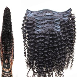 Hair Clips Ins Australia - Afro Kinky Curly Clip In Human Hair Extensions Brazilian Remy Hair 100% Human Hair Natural Black Clip Ins Bundle 100g Set