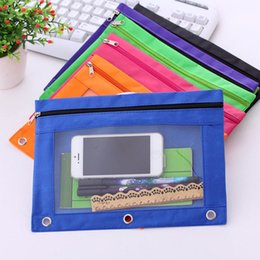 Discount file binder wholesale - 1Pc Zippered Binder Pencil Pouch with Ring Rivet 3 Holes School Office Supplies File Holder Filing Products Briefcases