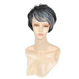 $enCountryForm.capitalKeyWord Australia - Fashion Women Natural Straight Short Hair Wig Synthetic Fibre Black With Grey