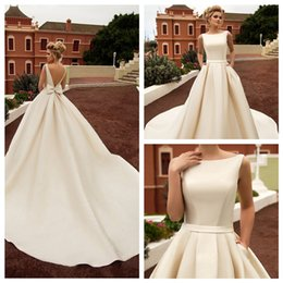 $enCountryForm.capitalKeyWord Australia - 2019 Noble Red A-Line Wedding Dresses with Bow Sash Robe De Mariee Sexy Backless Satin Court Train Bride Dress