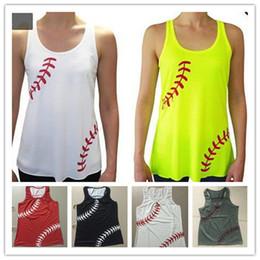 Großhandel Frauen-Baseball-Softball-Weste-Trägershirts Sommer Strap Hurdles Vest Fitness Gym Sweat Weste Strand ärmel Shirts Tees Leibchen A22705