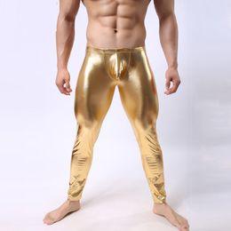 $enCountryForm.capitalKeyWord Australia - Fashion Mens Performance Pant Slim Pencil Pant Black Faux Leather Leggings Trousers Men Sexy Leggings