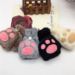 Cute brown bear online shopping - Bear Claw Flip Gloves Women Girls Winter Plush Cute Cat Claw Fingerless Convertible Mittens Soft Girls Glove set OOA7494