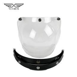 $enCountryForm.capitalKeyWord Australia - New Bubble Shield Visor Flip Up 3-Snap Viseira Volha 3 4 Open Face Helmet Glasses Vitage Motorcycle Helmet Lens glass