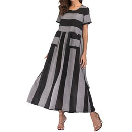 Bright Maxi Dresses Dgt Summer Women Long Dress 2018 Elegant Striped Print Sleeve Maxi Dresses  Vintage Midi Dress Womens Clothes Vestidos J190430