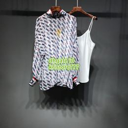 5b72a8f14f Nuevas mujeres rematan la blusa escarpada letra de la impresión camisa de  gama alta de encargo dos colores de manga larga camisa del collar del  soporte ...