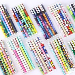 $enCountryForm.capitalKeyWord NZ - 6p Kawaii Colored Black Ink Gel Pen Cute Pen Stationery Set Kids Boys Girls Painting Signing Gel School Stationery Supplies