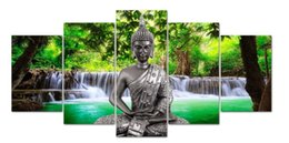 $enCountryForm.capitalKeyWord Australia - 5Pcs Unframed Canvas Prints Picture Waterfall scenery Buddha Art Home Wall Decor