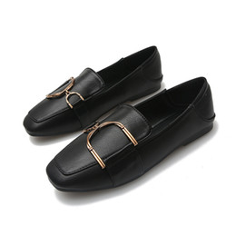 Discount shoes man 43 - Spring Summer Women Flat Shoes Ballet Flats Ladies Shoes Pu Leather Plus Size 43 Autumn Casual Metal Loafers