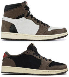 China Best Quality 1 High OG Travis Scotts Cactus Jack Suede Dark Mocha TS SP 3M Basketball Shoes Men Women 1s Low Travis Scotts Sneakers With Box cheap spring thread suppliers