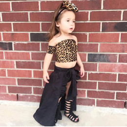 Leopard Kids T Shirts Australia - Girl 4 piece set dress Strapless t-shirt+Shorts+Dress+Headband leopard print Crop top+head clasp+shorts+Skirt suit for kids 90-130cm 388