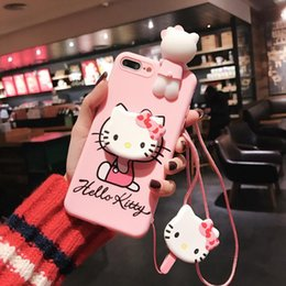 standing cartoon cat NZ - Luxury 3D cute cartoon cat holder stand Pink silicone phone case for iphone 11 pro 7 8 plus X XR XS MAX back cover case with Lanyard