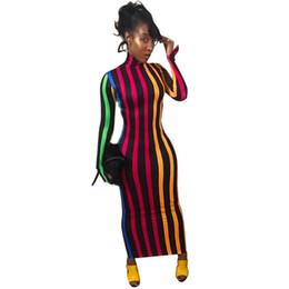 edf2420b5 Nuevo vestido de invierno PrimaveraCuello alto Manga larga Bolsillo a rayas  Color de golpe Vestido ajustado Mujer Ropa de moda NB-1026