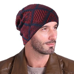 81fda3c0c4ae2 Autumn Winter Warm Men Hat Slouch Baggy Hat Skullies Beanie Knitted Caps 4  styles Male Casual Beanies Hats