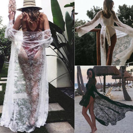 Wholesale sexy beach cover up dress for sale – plus size Sexy Ladies Women Bikini Lace Cover up Beach Dress Swimwear Chiffon Beachwear Bathing Suit Summer Holiday Kimono Cardigan