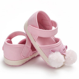 Baby Girl Summer Canvas Shoes Australia - Summer Infant Baby Girl Sabdals Toddlers Baby Cute Pompom Soft Bottom Canvas Princess Sandals New Lovely Shoes