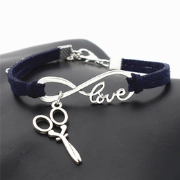 Diy Bracelets For Sale Australia - Hot Sale Handmade PU Dark Navy Leather Suede Cuff Bracelet Infinity Love Barber Scissors Scalpel Bangles For Women Men Wrap DIY Jewelry Gift