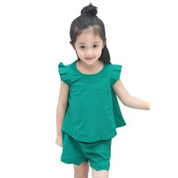 Wholesale 1 Y Baby Girls Green Color Outfits Set Sleeveless T shirt Short Pants Kids Summer Clothes Set
